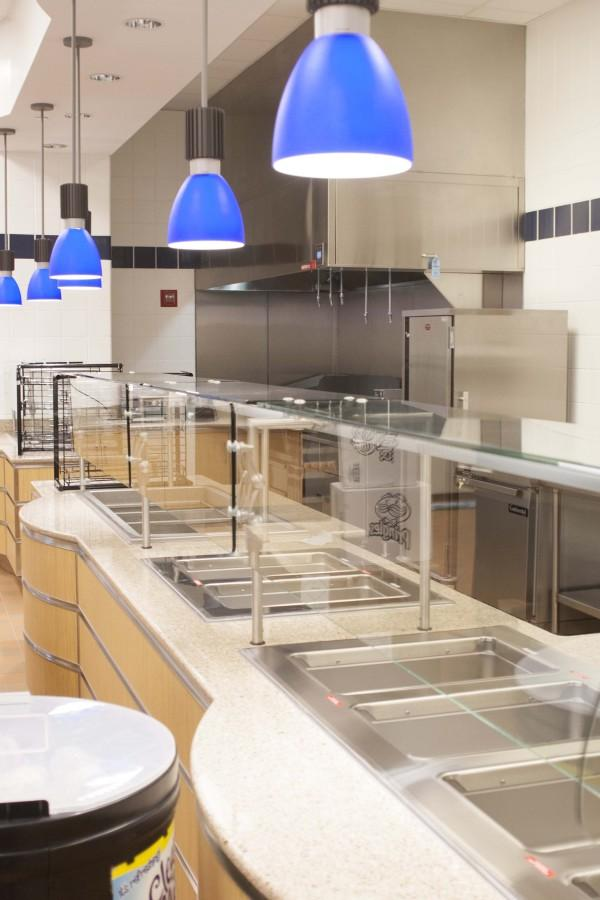 New food stations in Fr. Querbes Dining Hall await hungry students. Photo by Dana Lenard.