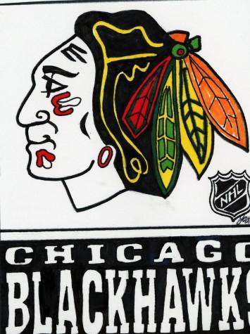 The Blackhawks skate onto the ice