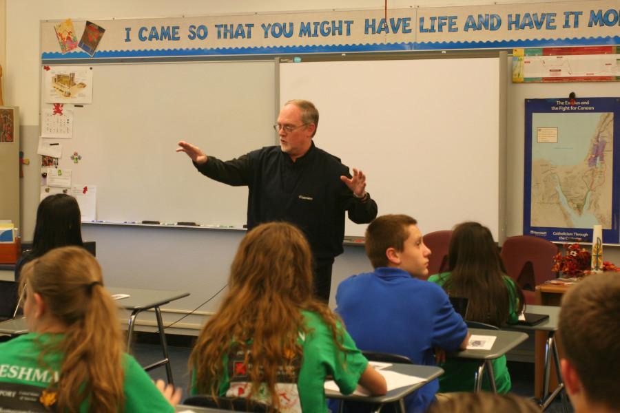 Fr. Lydon teaches a freshman faith class.