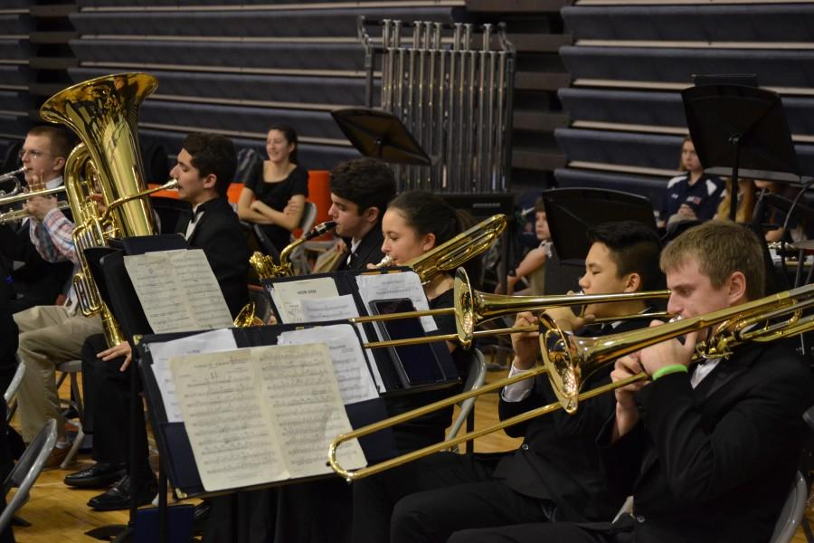 The brass players perform during the Fine Arts Assembly.