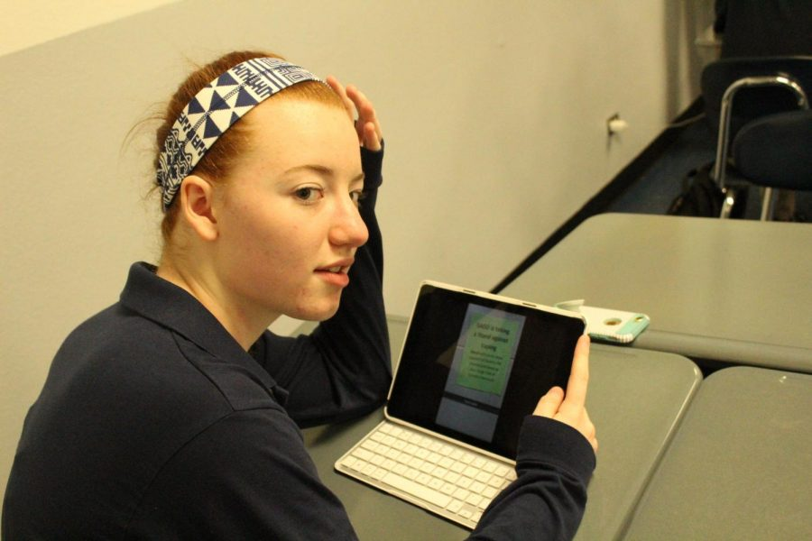 Senior Annie Haubenreiser is caught using Snapchat during class.