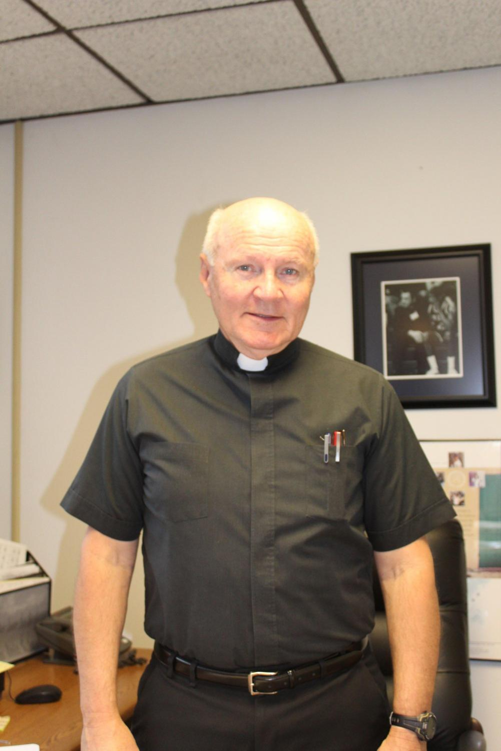 Fr. Dan Hall, history teacher, served in the Army and the Marines.